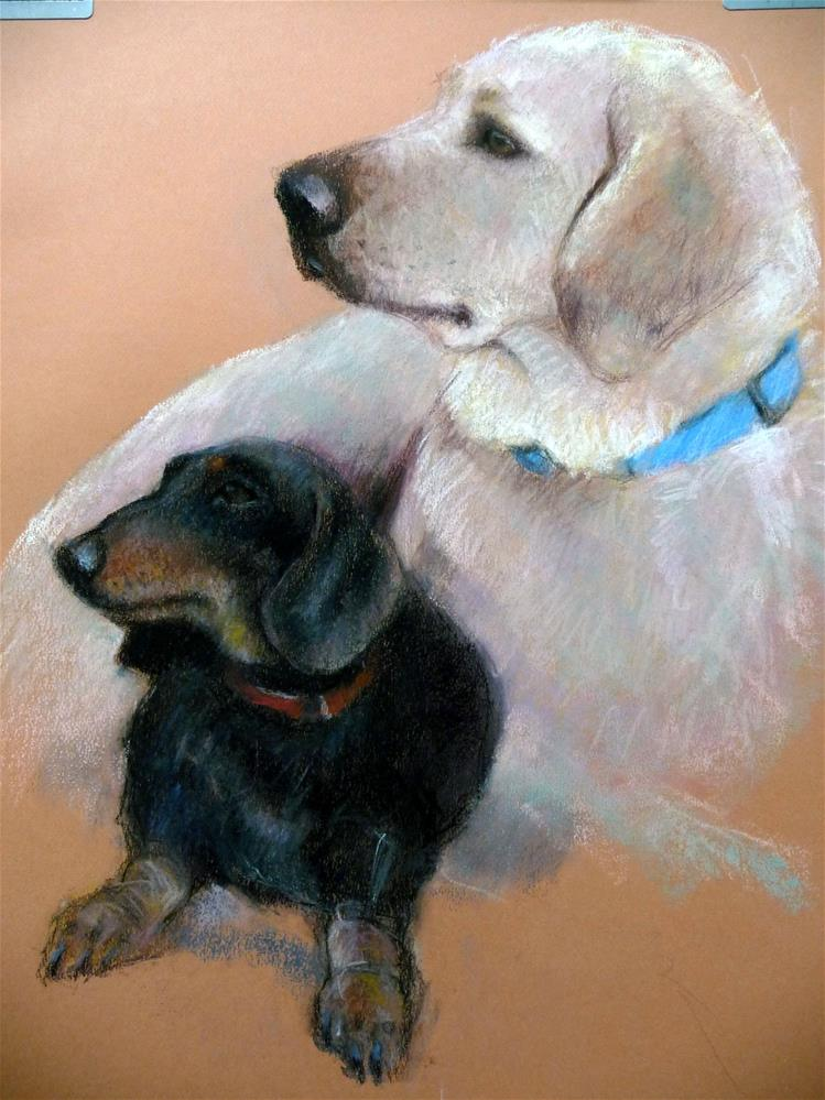 """renee's dogs"" original fine art by Jini James"