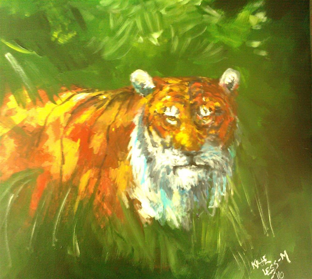 """Tiger disturbed"" original fine art by Kate Less-Madsen"