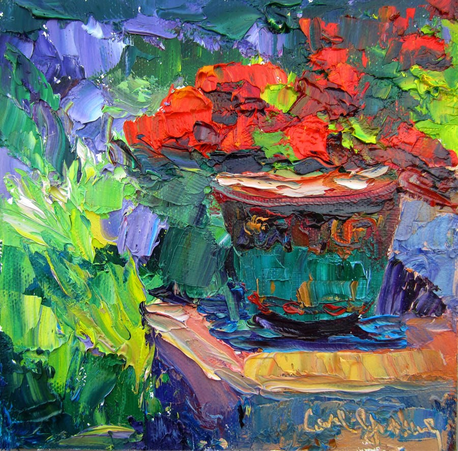 """Geranium in Malibu Pottery"" original fine art by Carol Steinberg"
