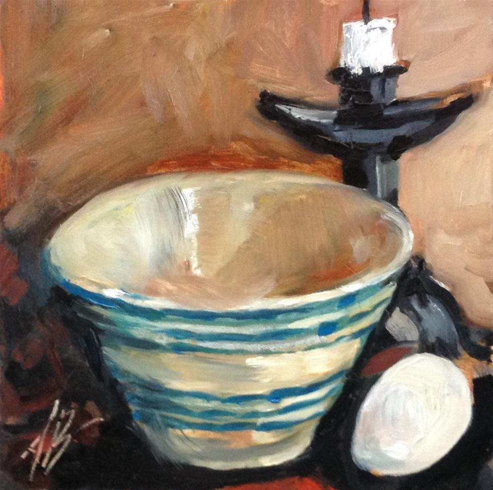 """Blue stripes bowl"" original fine art by Annette Balesteri"