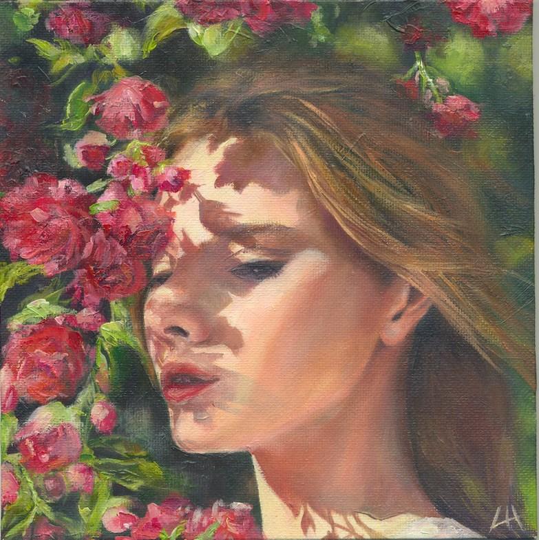 """The summer roses"" original fine art by Hui (Hue) Li"