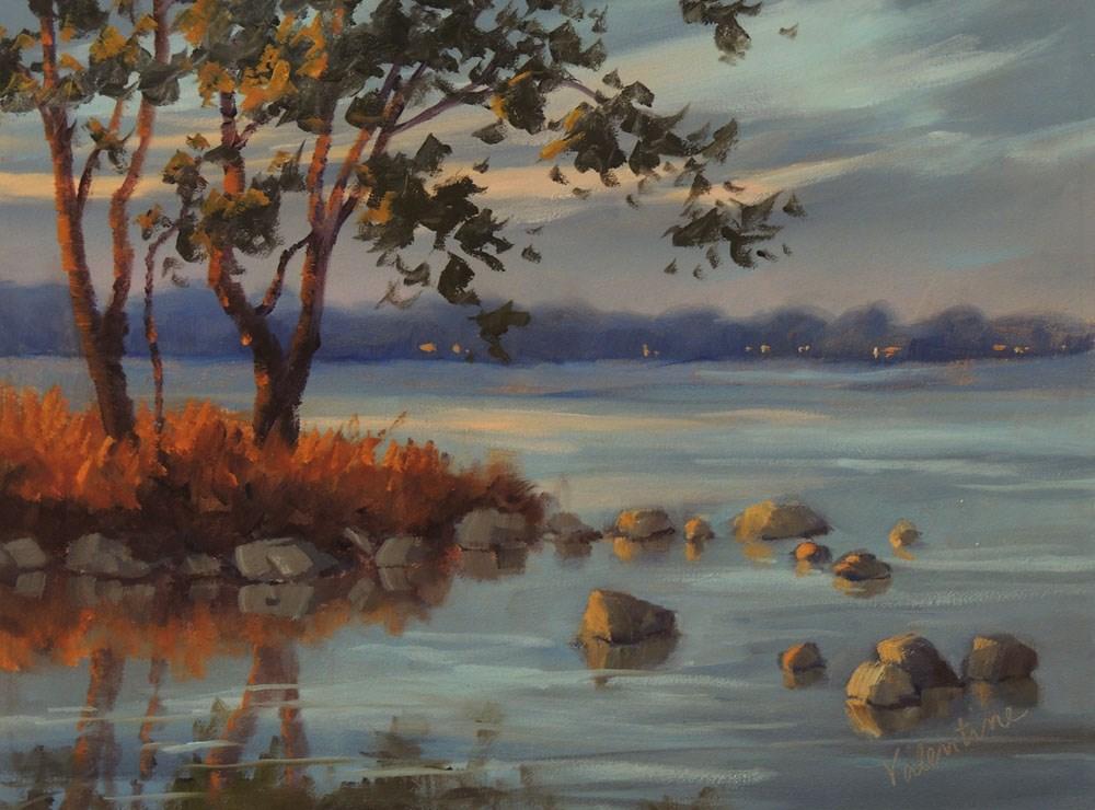 """River Twilight"" original fine art by Barbara Valentine"
