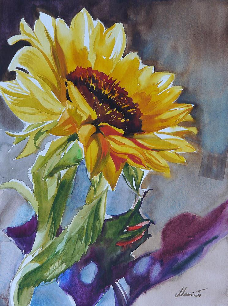 """sunflower_aqua_2"" original fine art by Beata Musial-Tomaszewska"