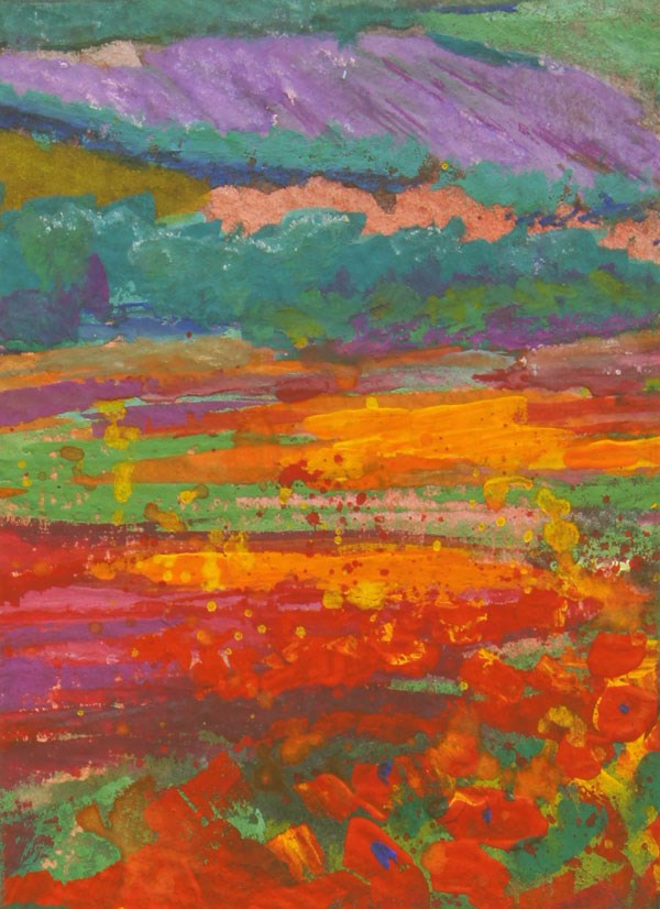 """""""ACEO - Provence Poppy fields 1 gouache painting by Marion Hedger"""" original fine art by Marion Hedger"""