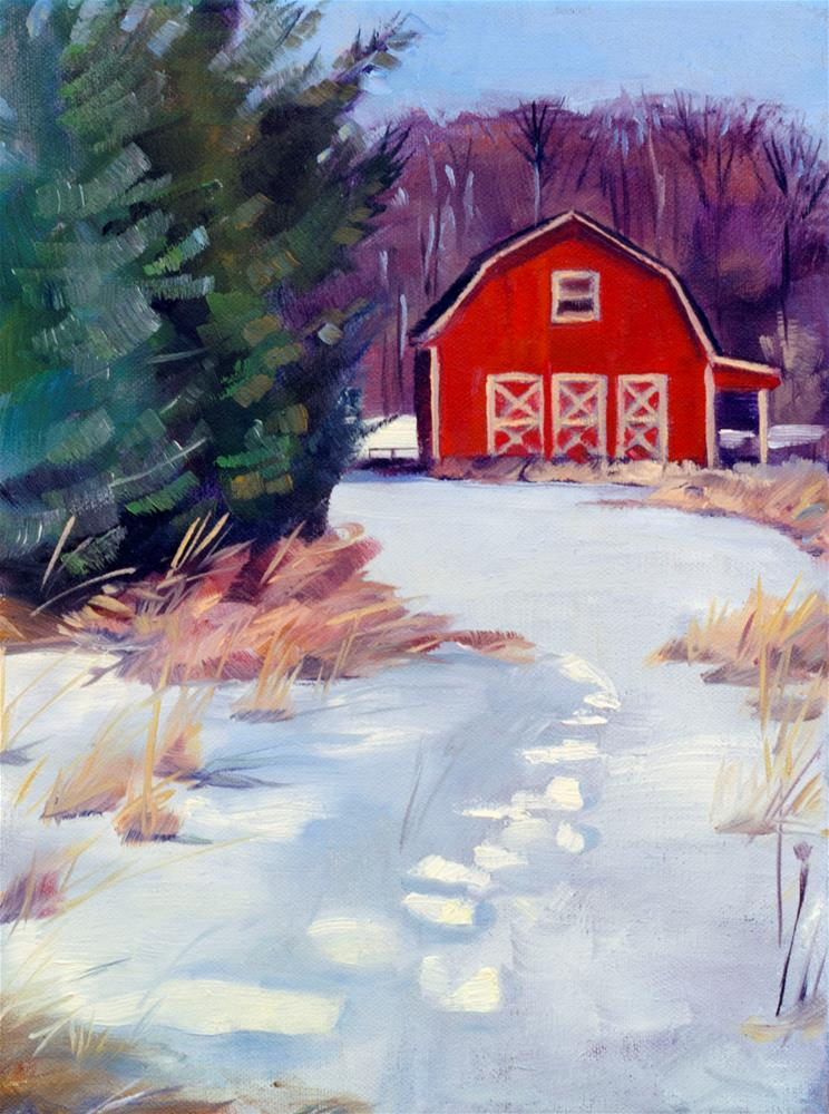 """A Warm Snow Day"" original fine art by Kathleen Gray Farthing"