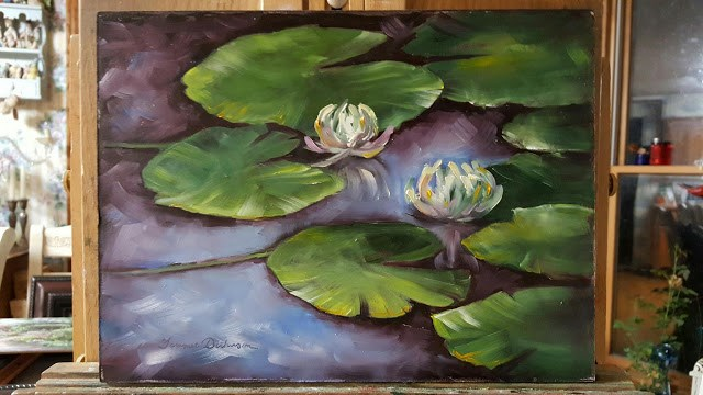 """Water Lilies at Dusk"" original fine art by Tammie Dickerson"