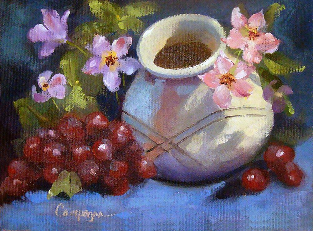 """""""Vase, Posies and Grapes"""" original fine art by Roseanne Campagna"""