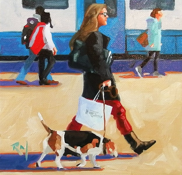 """No 746 Shopping with a Friend"" original fine art by Robin J Mitchell"