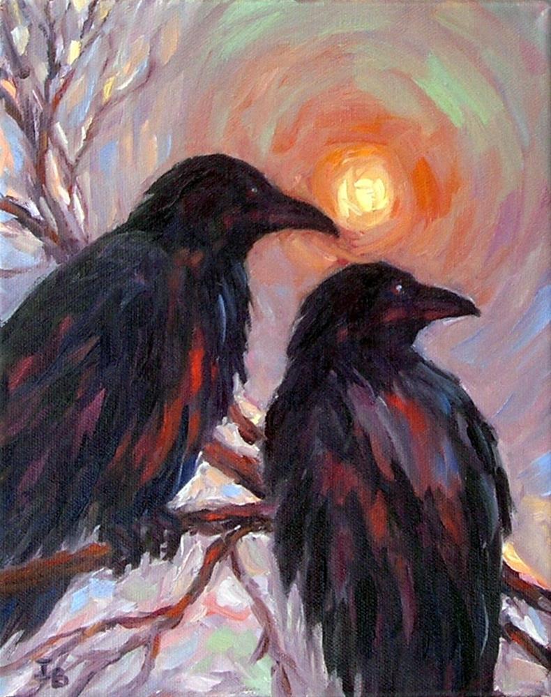 """""""Watching Winter Sunset"""" original fine art by Irina Beskina"""