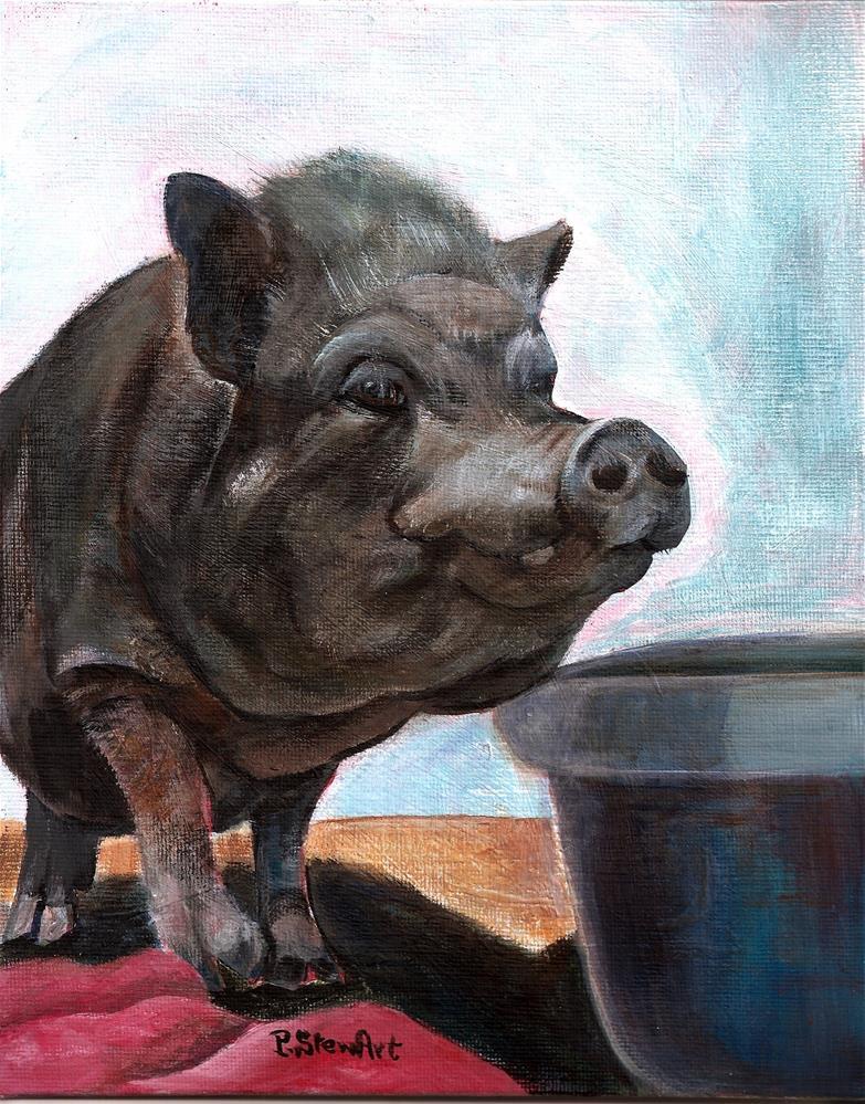 """""""Nestor the pot bellied Pig, 8 x 10, Acrylic on Canvas Board, Original OOAK"""" original fine art by Penny Lee StewArt"""