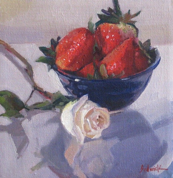 """Blue Bowl of Strawberries fruit food kitchen art oil daily painting and blog giveaway update"" original fine art by Sarah Sedwick"