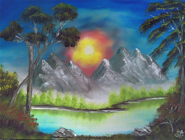 """Sunset Mountain with River"" original fine art by Samara Doumnande"