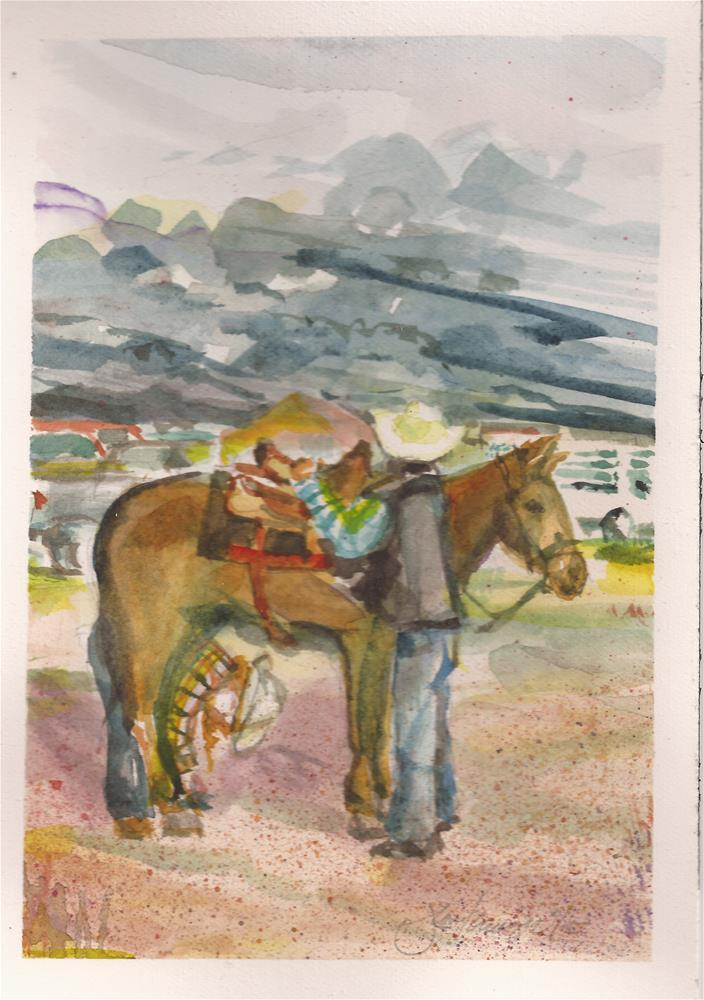 """""""Stampede Rodeo, Westcliffe, CO"""" original fine art by jean krueger"""