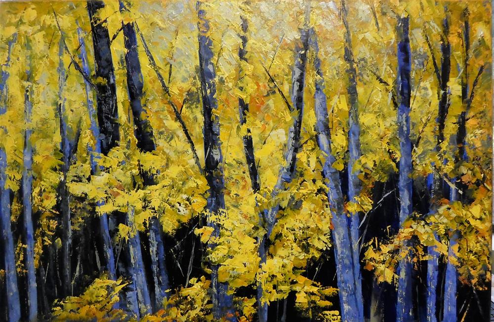 """30 x 20 inch oil Forest Series"" original fine art by Linda Yurgensen"