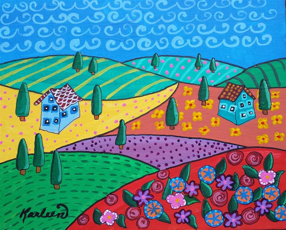 """Flower Garden on the Hill"" original fine art by Karleen Kareem"