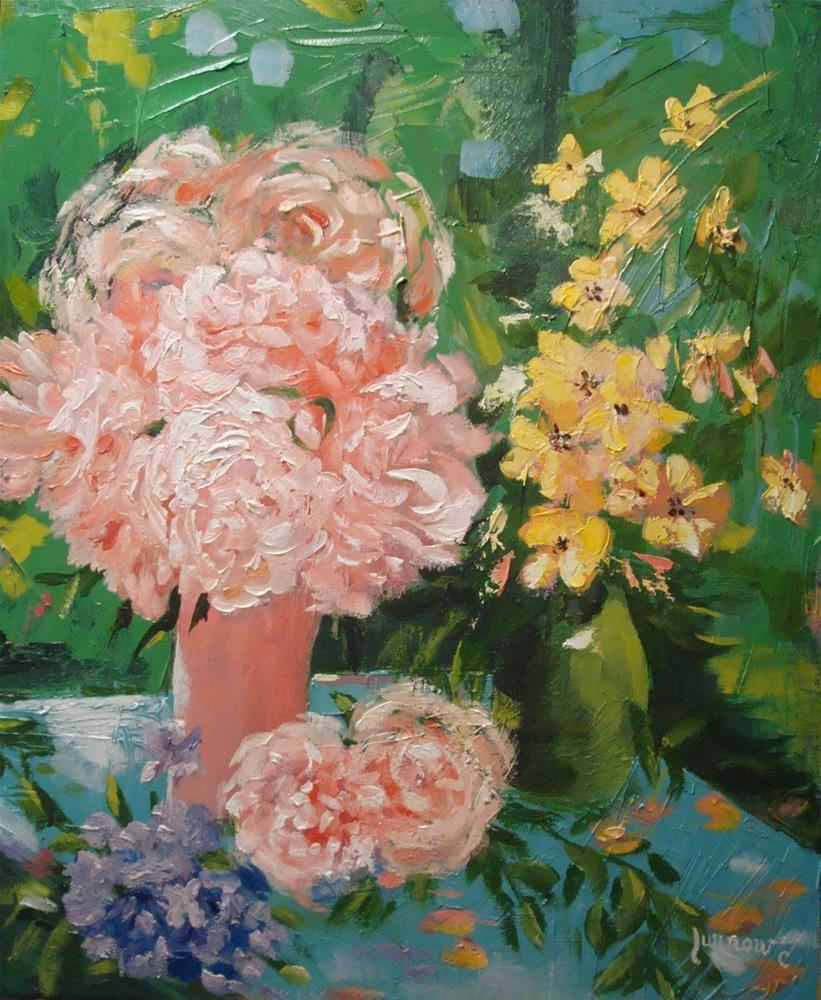 """Peonies&Sultana's - Lesson 9"" original fine art by Sue Furrow"
