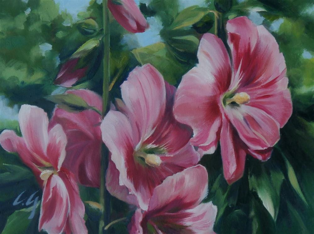 """Peach Hollyhocks"" original fine art by Carla Gauthier"