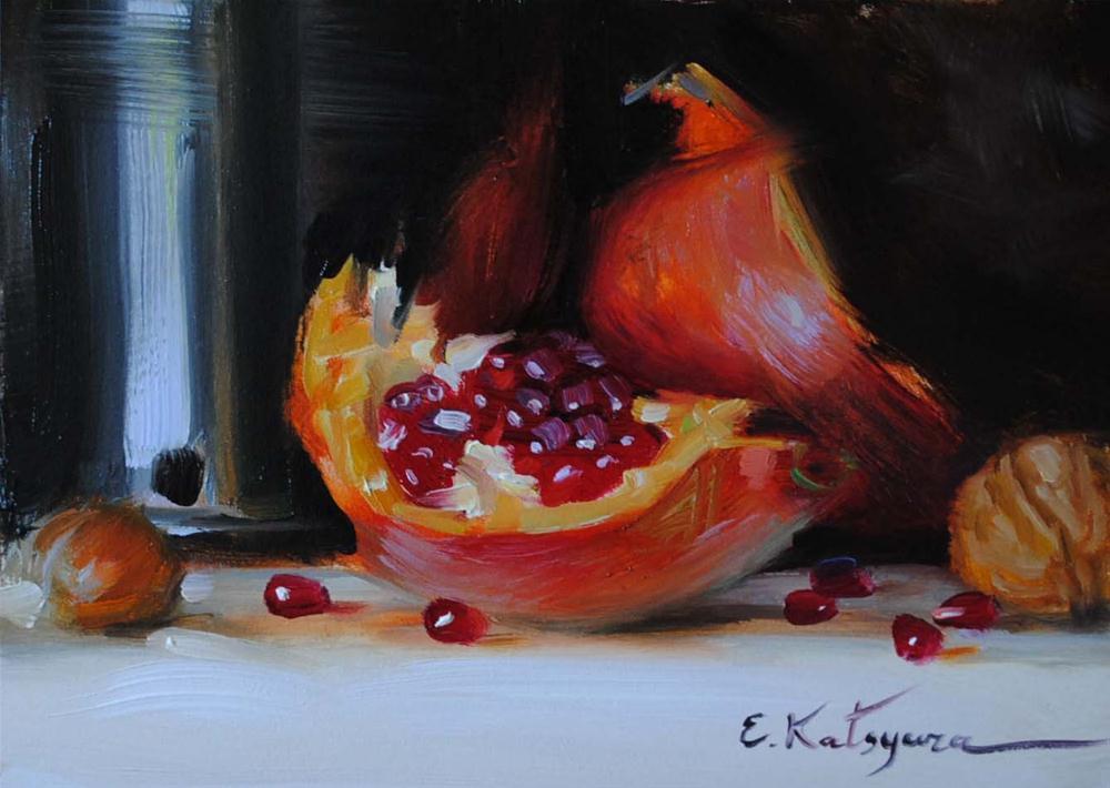 """Pomegranate and Wine"" original fine art by Elena Katsyura"