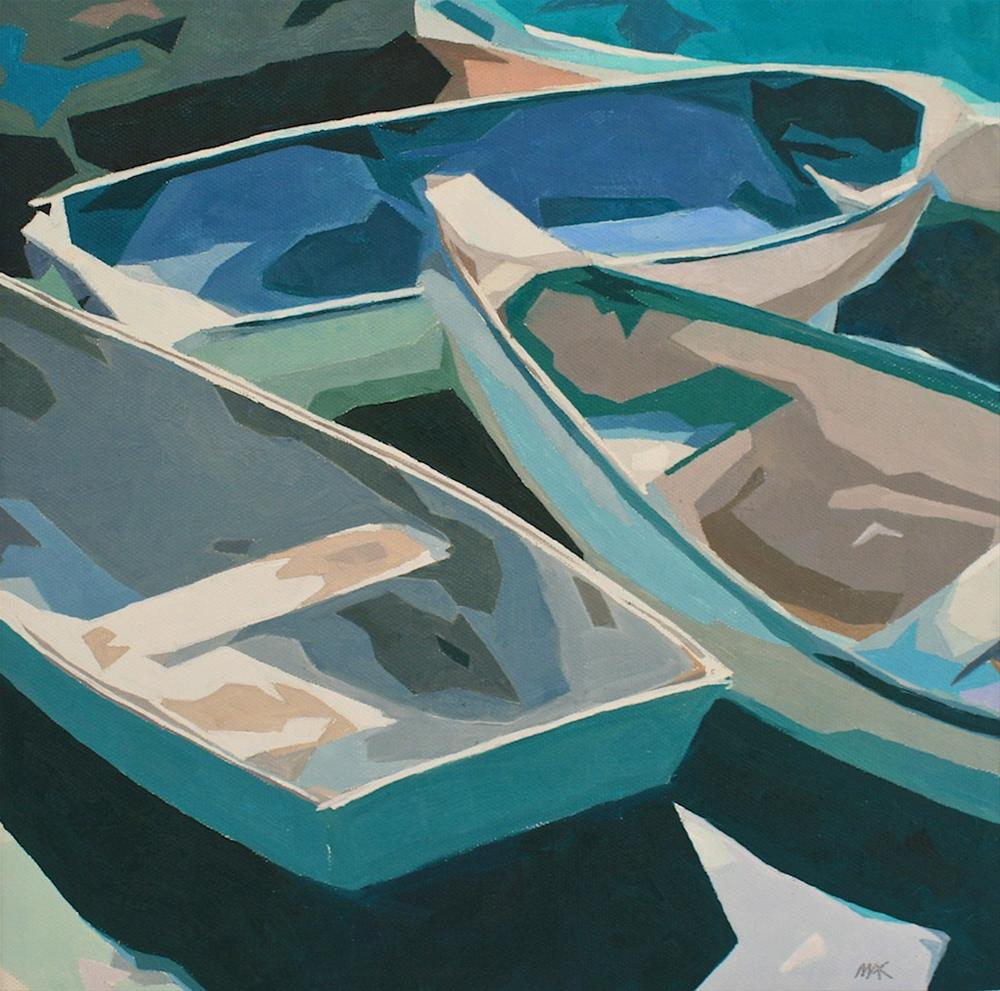 """Abstract Boats"" original fine art by Mary Anne Cary"