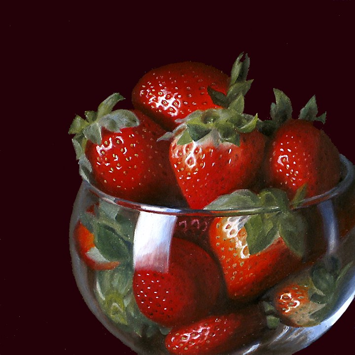 """Strawberries in Brandy Glass"" original fine art by Nance Danforth"