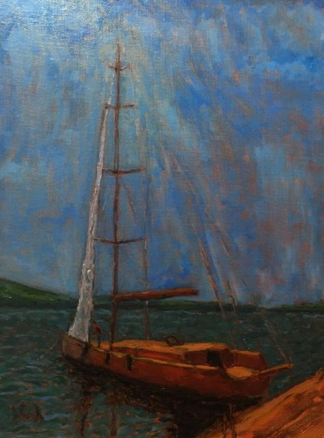 """Drying the Sail"" original fine art by William Cook"