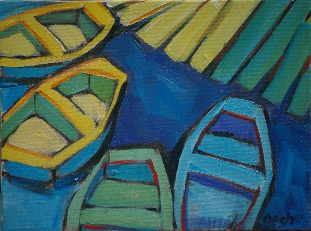 """Dinghy Dock"" original fine art by Angela Ooghe"