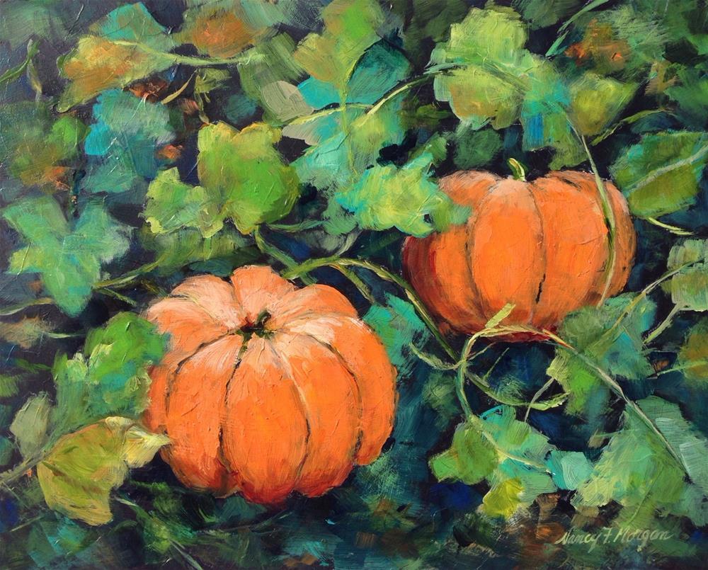 """Pumpkin Patch"" original fine art by Nancy F. Morgan"