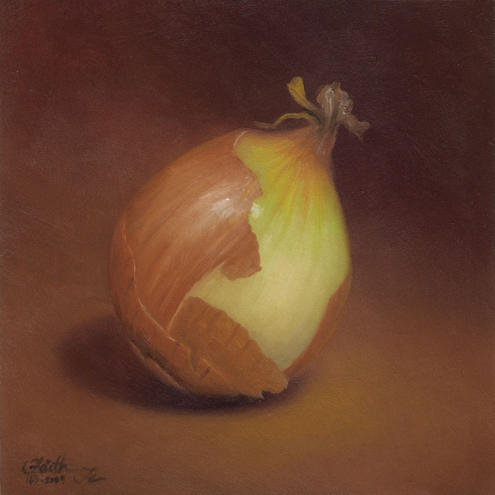 """Yellow Onion: Half Peeled"" original fine art by Faith Te"