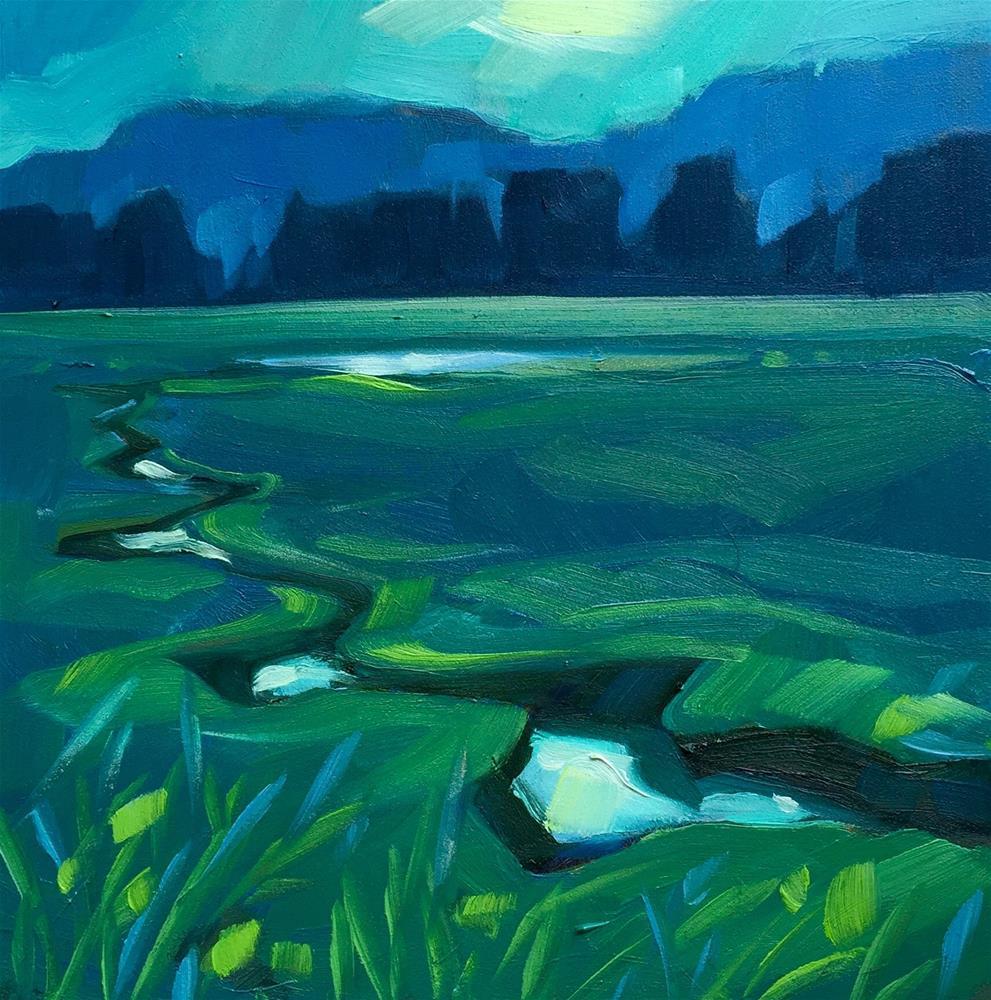 """Twilight, Vermont Water Meadow"" original fine art by Meg McLean"
