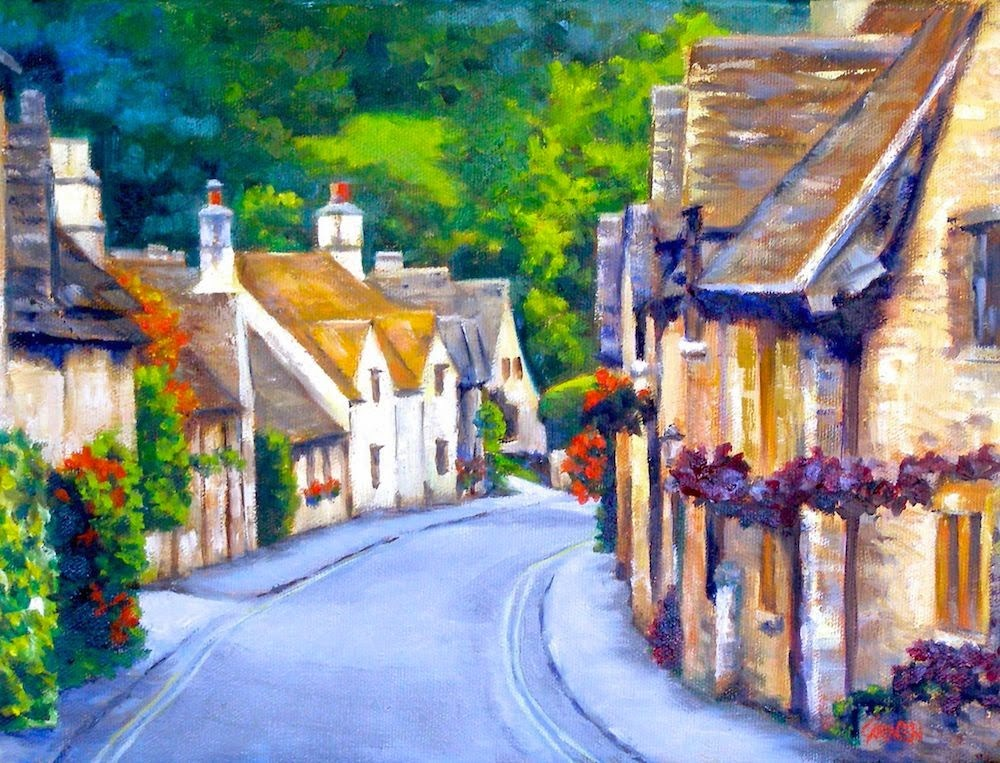 """The Cotswolds, 12x9 Oil on Canvas"" original fine art by Carmen Beecher"