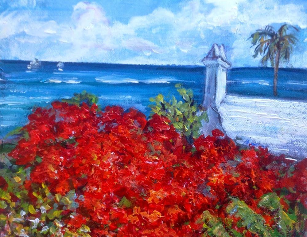"""Poinciana and white roof in Bermuda"" original fine art by Sonia von Walter"