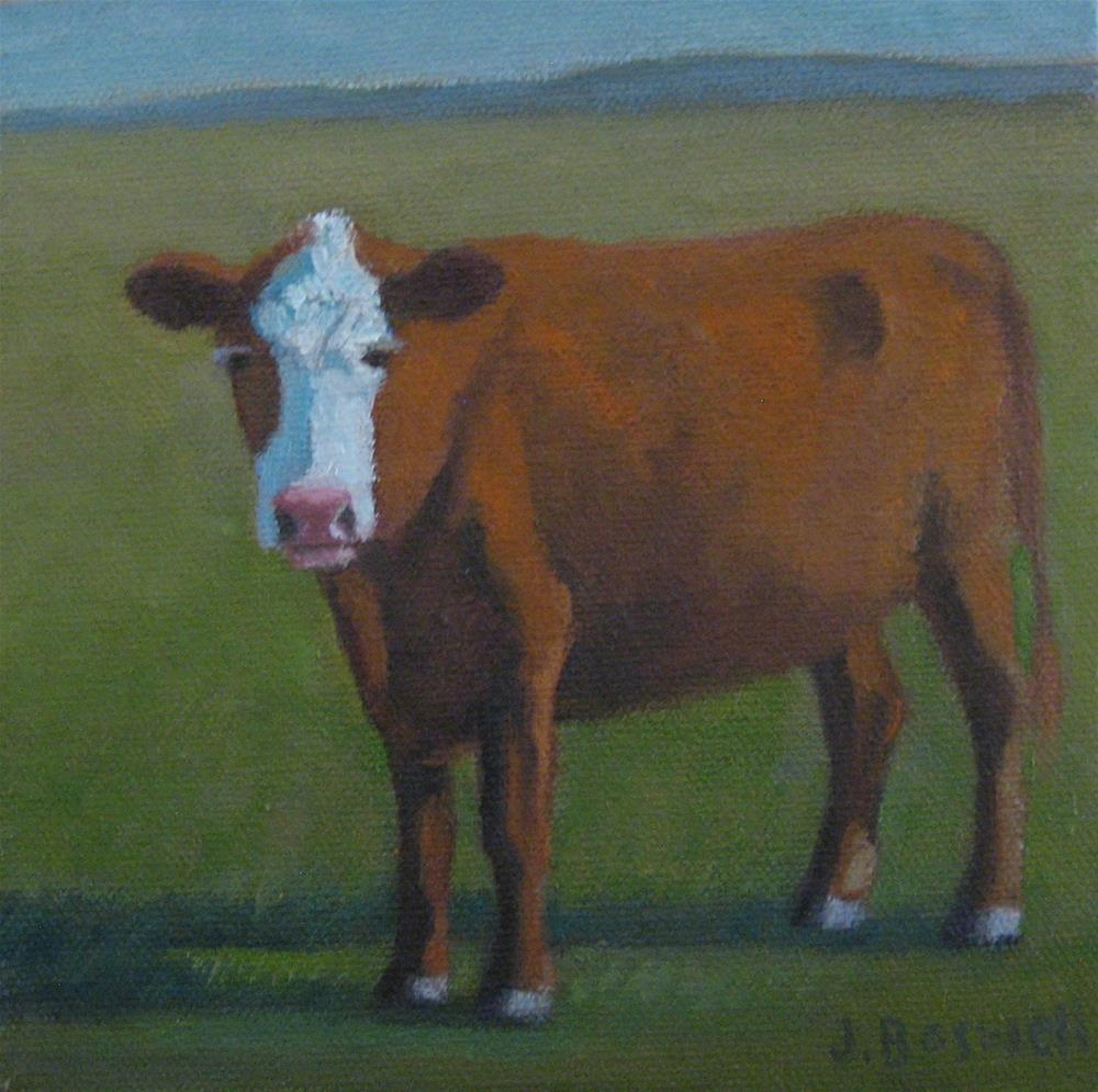 """Santa Ynez Brown Cow Series 4"" original fine art by Jennifer Boswell"