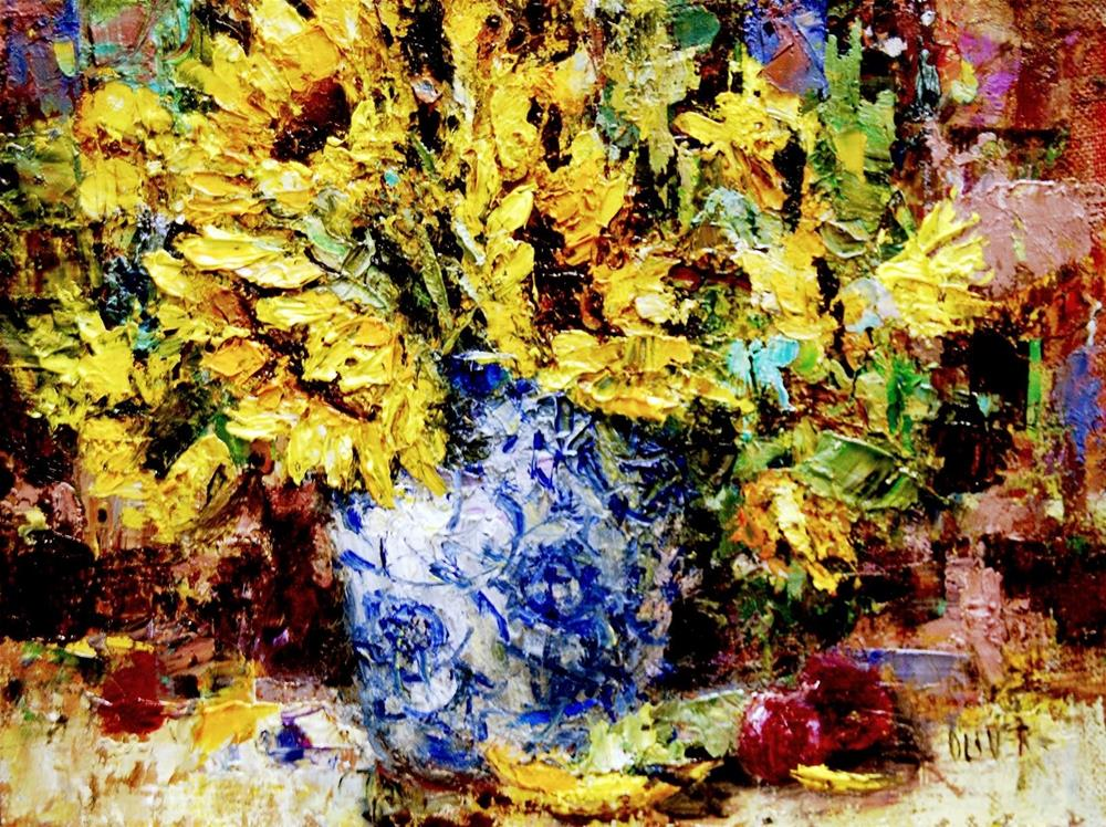 """Sunflowers In Porcelain"" original fine art by Julie Ford Oliver"