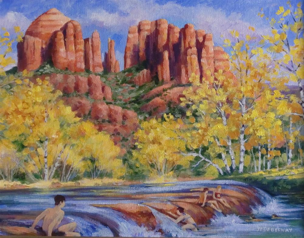 """Cathedral Rock Swimming Hole, Sedona"" original fine art by Jean Pierre DeBernay"