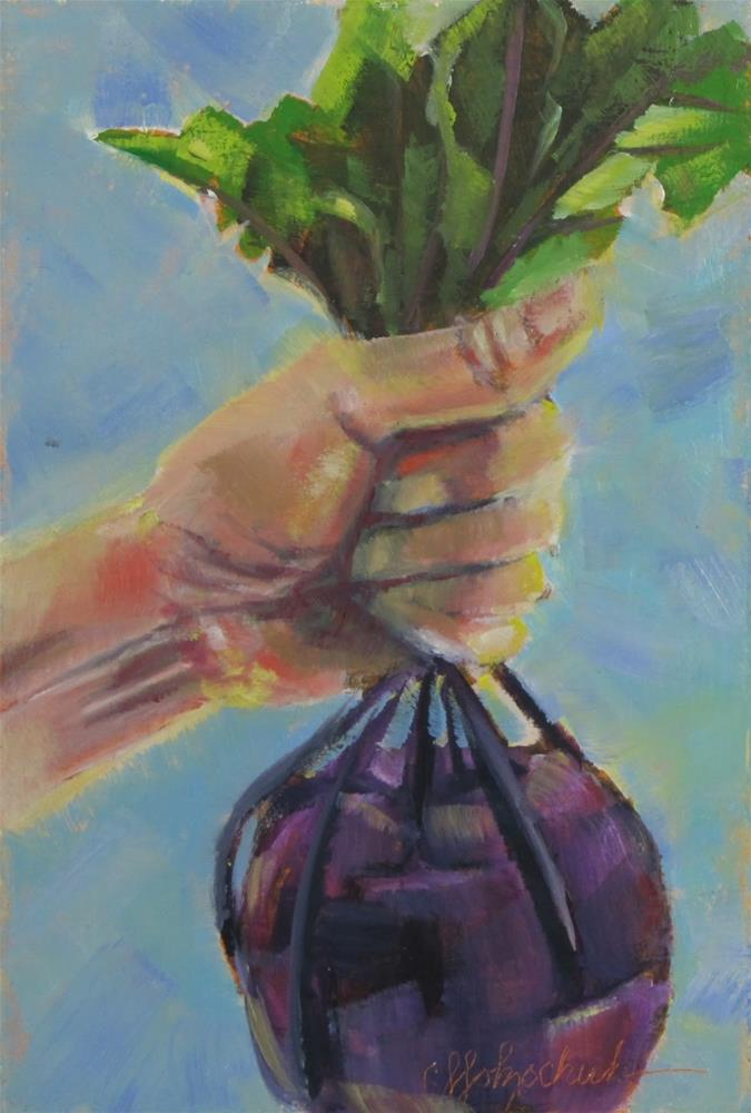 """Fistful of Kohlrabi"" original fine art by Christine Holzschuh"