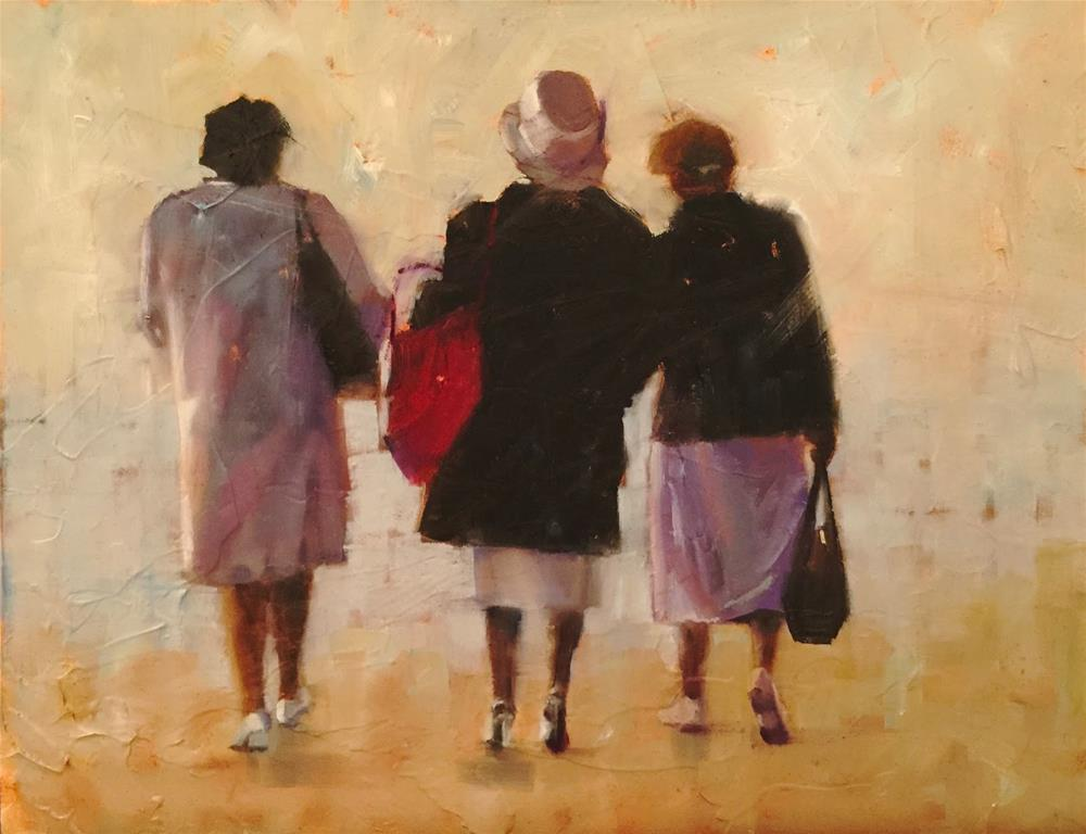"""Churchladies, 14 x 11"" original fine art by Ann Feldman"