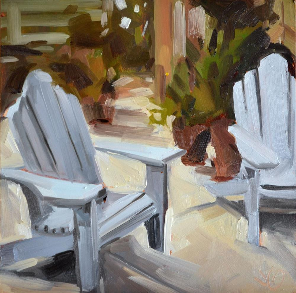 """Backyard Chairs"" original fine art by Jessica Green"