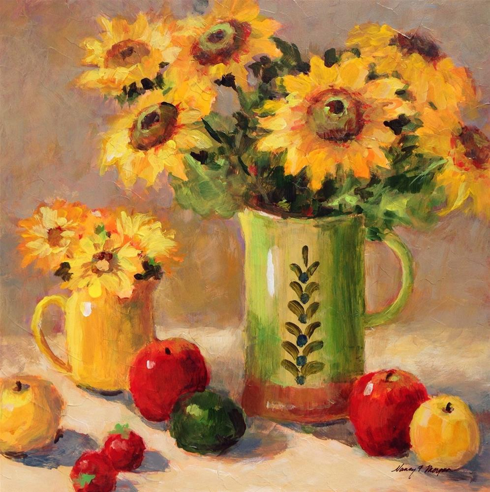"""Sunflowers With Apples"" original fine art by Nancy F. Morgan"