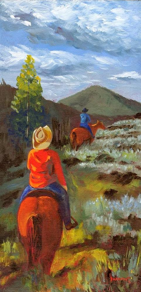"""ORIGINAL PAINTING LANDSCAPE TRAIL RIDE HORSES AND RIDERS"" original fine art by Sue Furrow"