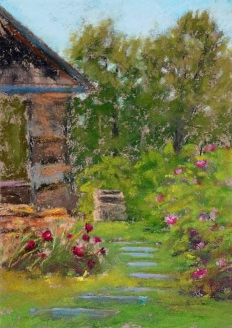"""""""Summer Garden Path"""" original fine art by Sharon Lewis"""
