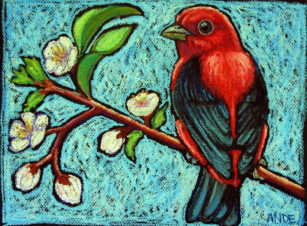 """Scarlet Tanager on Apricot Branch"" original fine art by Ande Hall"