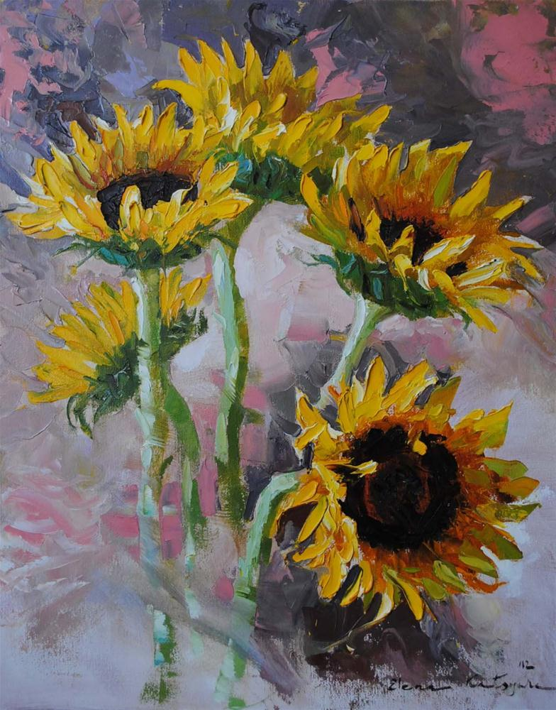 """Sunflowers"" original fine art by Elena Katsyura"