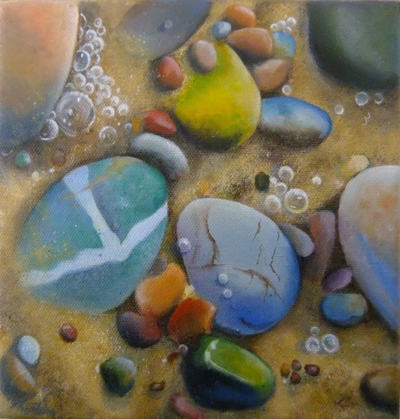 """Pebbles and sand"" original fine art by Cathy Holtom"