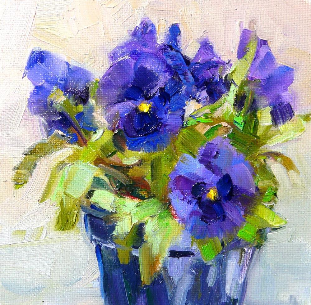 """A purple Pansy,still life,oil on canvas,6x6,price$200"" original fine art by Joy Olney"