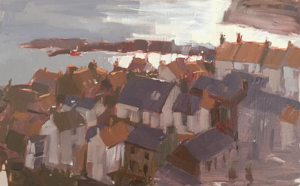 """Staithes rooftops"" original fine art by Haidee-Jo Summers ROI"