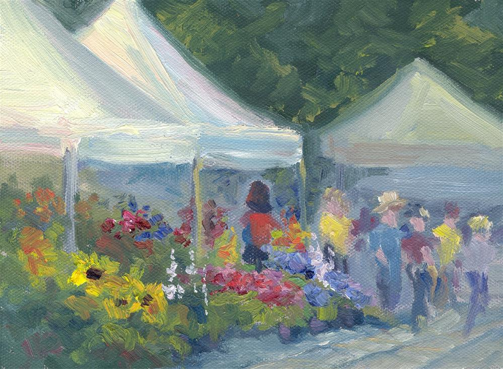 """MARKET FLOWERS"" original fine art by Karen E Lewis"