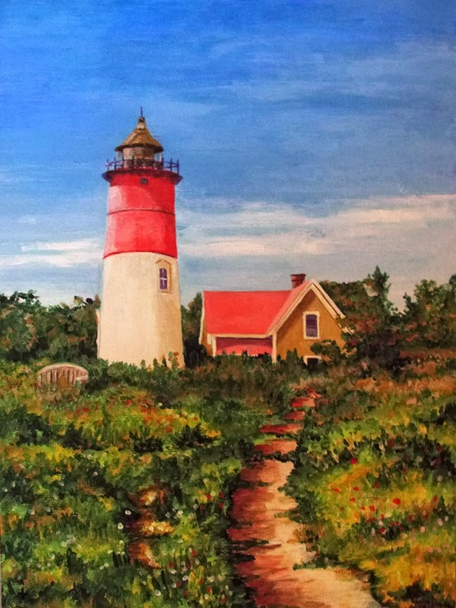 """Cape Cod Lighthouse"" original fine art by Nan Johnson"