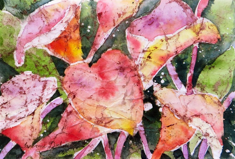 """Pink Calla Batik"" original fine art by Tammie Dickerson"