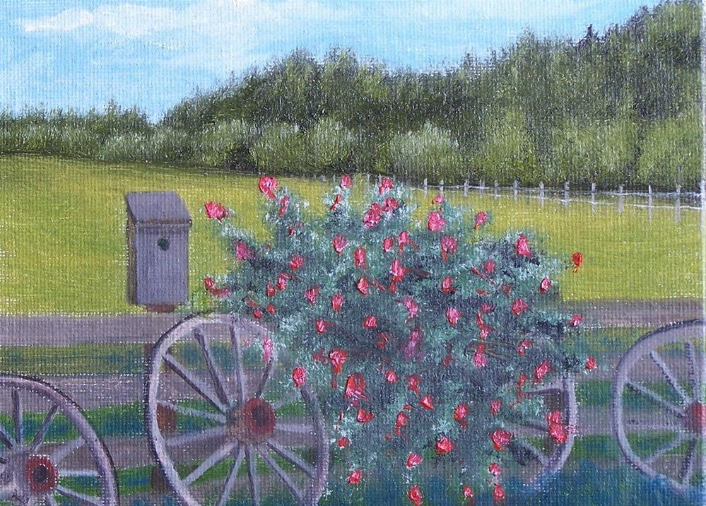 """Wheels and roses"" original fine art by John Marcum"