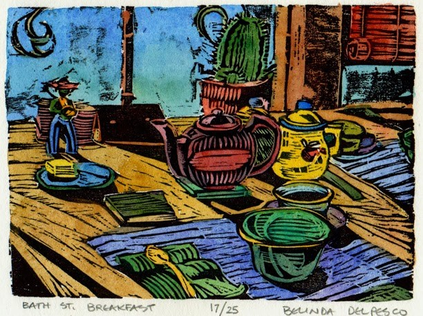 """Woodcut: Bath Street Breakfast (printing & pondering from a block carved thirty years ago)"" original fine art by Belinda Del Pesco"